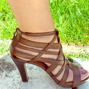 Authentic all leather high heel gladiator sandals.